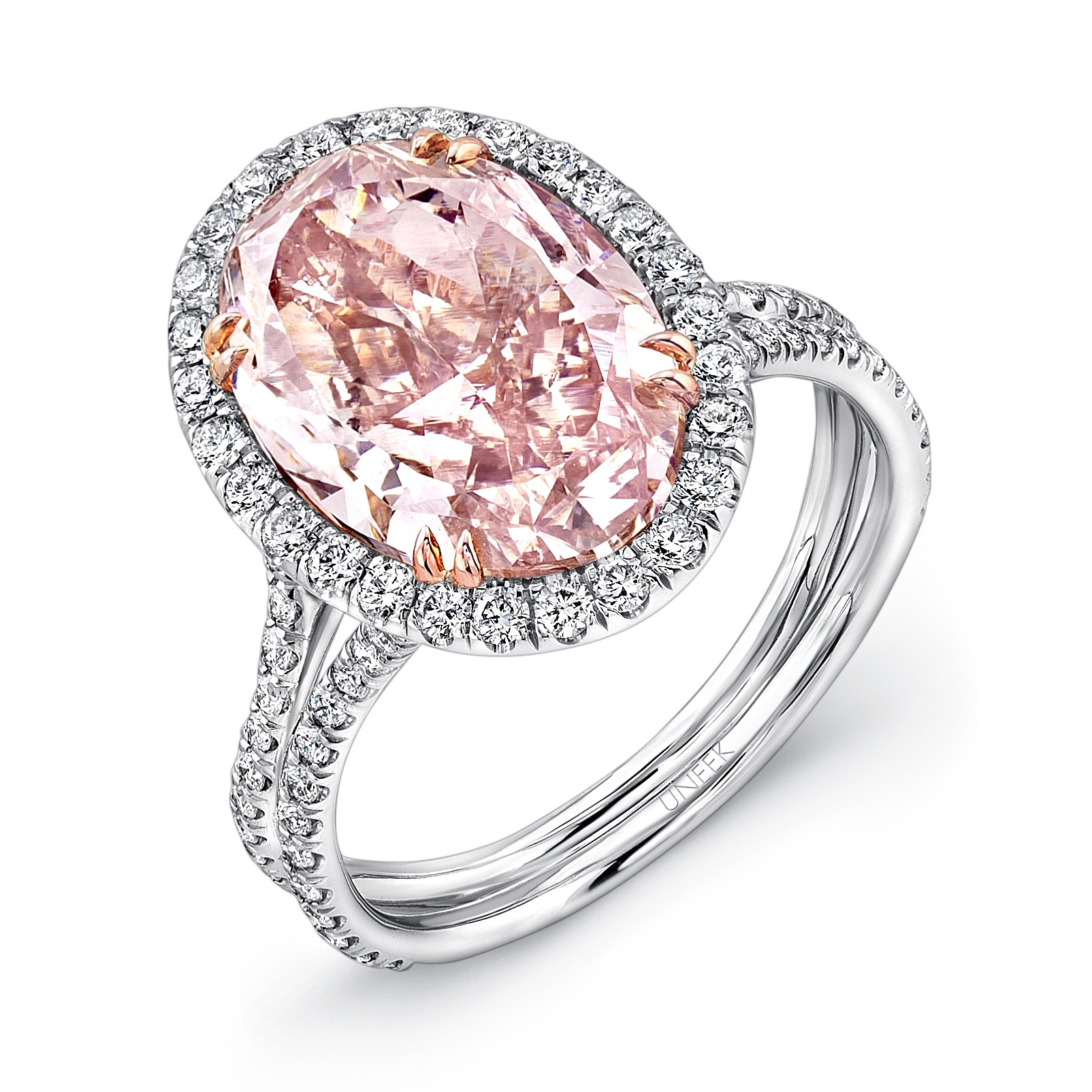 #LVS889 Uneek Oval Fancy Brown Pink Diamond Halo Engagement Ring with