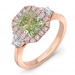 Uneek LVS1007RAD Green Diamond Engagement Ring