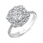 Uneek LVS1015RAD Radiant-Cut Diamond Engagement Ring with Floral-Inspired Halo