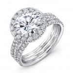 Uneek LVS871RD Round Diamond Halo Engagement Ring with Pave Triple Shank