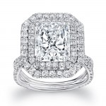 """Uneek LVS954 Radiant-Cut Diamond Engagement Ring with Dreamy Double Halo and Pave """"Silhouette"""" Double Shank"""