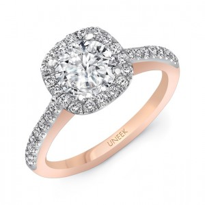 """Fontana"" Vintage-Inspired Round-Diamond-on-Cushion-Halo Engagement Ring from Uneek"