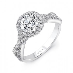 """Primavera"" Vintage-Inspired Round Diamond Halo Engagement Ring from Uneek"