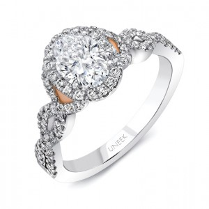 "Uneek ""Onda"" Oval Diamond Halo Engagement Ring from Uneek"
