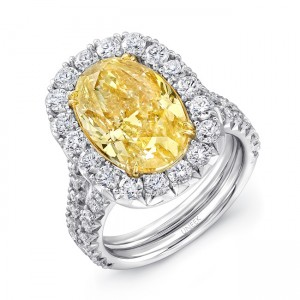 Uneek LVS920 6-Carat Oval Fancy Yellow Diamond Halo Engagement Ring