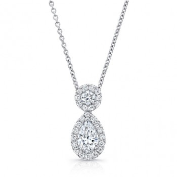 Uneek LVN684PS Pear-Shaped and Round Diamond Pendant, in 18K White Gold
