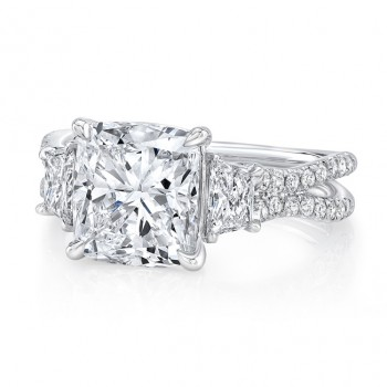 "Cushion Cut Diamond-Center Classic Three-Stone Engagement Ring with Pave ""Silhouette"" Double Shank from Uneek"