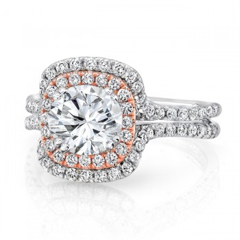 Round Diamond Engagement Ring with Two-Tone Double Cushion Halo and Pave White Gold Double Shank from Uneek