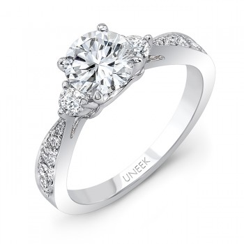 Classic Round-Center Three-Stone Engagement Ring with Tapered Upper Shank